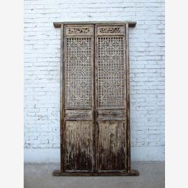 China Shanxi Innentür zweiflügelig feinste Schnitzerei auf weiß lackierter Pinie