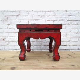 antikes China kleiner Hocker in traditioneller Gestaltung und braun-roter Oberfläche aus Ulme