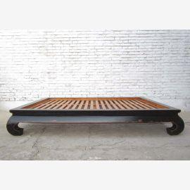 China breites Bett Opiumbett Doppelbett mit Lattenrost schwarzes Ulmenholz