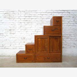 China ideal für Dachzimmer Treppen Kommode hellbraun viele Schubladen beidseitig aufstellbar