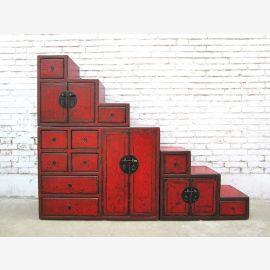 China Treppen Kommode rotbraun viele Schubladen beidseitig verwendbar unter allen Schrägen