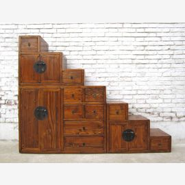 China ideal für Dachzimmer Treppen Kommode naturbraun viele Schubladen beidseitig ausziehbar