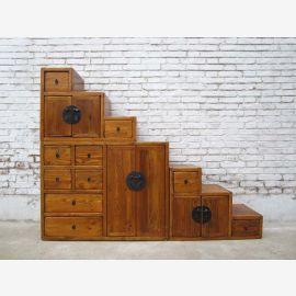China ideal für Dachzimmer Treppen Kommode hellbraun viele Schubladen beidseitig ausziehbar