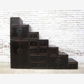 China große Stufen Kommode schwarzbraun viele Schubladen beidseitig aufstellbar