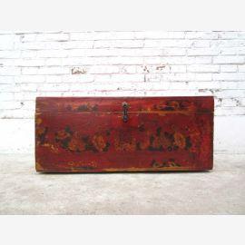 Tibet 1960 Kolonialstil schön bemalte Truhe Massivholz