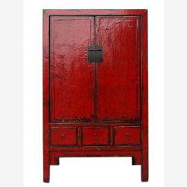 Traditioneller Chinesischer Hochzeitsschrank rot Shanxi 1860 aus dunkles Ulmenholz mit Metallbeschläge