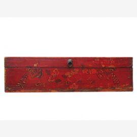 China 1890 kleine antik bemalte Truhe Box Metallbeschlag