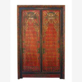 China Tibet 1910 antike Kommode Schrank  lackiertes Holz