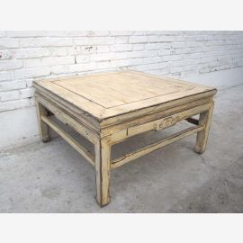 China Beijing 1860 klassischer niedriger Tisch massives Ulmenholz weiß