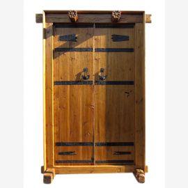 China Shanxi antik  breite Tür Tor Eingang zweiflügelig Ulmenholz mit Rahmen