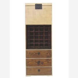 China hohe schlanke Kommode Barschrank Anrichte Pinie in two tone optic