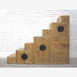 China Treppen Kommode Schubladen Landhausstil helles Pinienholz