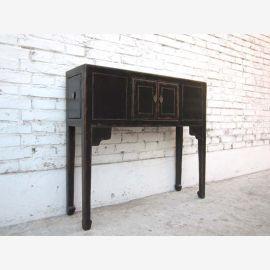 China kleine zierliche Anrichte Garderobentisch schwarz lackerte Pinie von Luxury Park