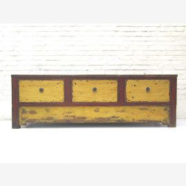 China Mongolei 1890 shabby chic besonders breite Anrichte Lowboard für Flachbildschirm rot gelbe Pinie von Luxury-Park