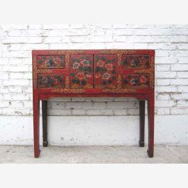China Tibet filigrane Anrichte Garderobentisch 4 Schübe Schminktisch fein bemaltes Pinienholz von Luxury-Park