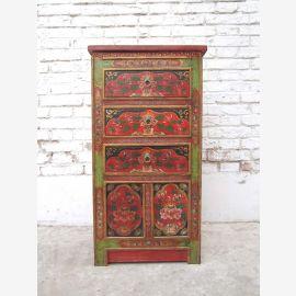 China Tibet 1950 rustikale Kommode Kredenz drei Schubladen traditionell bemalte Pinie in rotbraun von Luxury-Park
