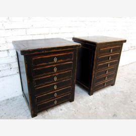 Zwei Schubladenkommoden Schreibtisch Unterschränke mit je 6 Schubladen China Pinie schwarzer Lack von Luxury-Park
