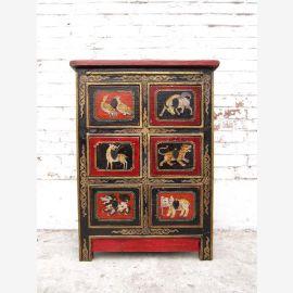 China Tibet herrliche kleine Kommode Anrichte filigrane antike Bemalung Tiermotive Pinie von Luxury Park