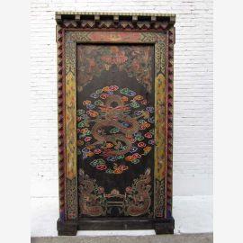 China 1930 antike großartig bemalte Pinienholz Tür Tor mit massivem Schmuck Rahmen absolute Rarität von Luxury-Park