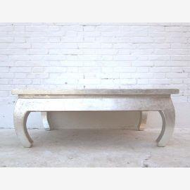 China Klassisch flacher Tisch geschwungene Füsse weiss lackiertes Pinienholz von Luxury-Park