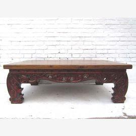 China 1930 Klassisch flacher Tisch herrlich verzierter Dekorsockel dunkles Pinienholz von Luxury-Park