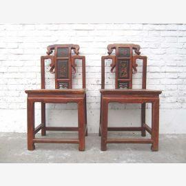 China 1895 Stuhl Schnitzereien honigbraun Antik Ulmenholz