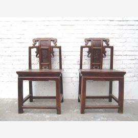 Asien Zhejiang um 1890 Stuhl Schnitzerei braun Antiquität Ulmenvollholz