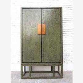 China großer Schrank Doppeltüre graugrün Modern Style Pinienvollholz