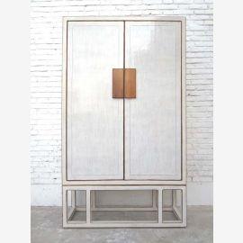 Großer Chinesischer Hochzeitsschrank weiß lackiert Doppeltüren Modern Pinie