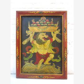 Original China prächtiges Wandbild bäuerliche Ernteszene in antiken Farben auf lackiertem Holz von Luxury-Park