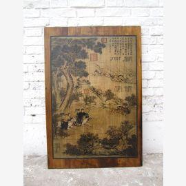 Asia Wandbild brauner Holzrahmen Pinie etwa 80 Jahre alt Präsent
