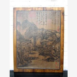 Asien Wandbild klassische Landschaft 80 Jahre Rahmen helles Kiefernholz