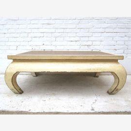 China flacher Tisch Antikweiß used optik Pinie Vollholz