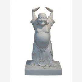 Happy Buddha Statue Figur Skulptur Marmor weiss von Luxury Park