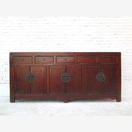 China sehr breite Kommode Kredenz fünf Schubladen sechs Türen klassische Optik rotbraunes Pinienholz Luxury-Park