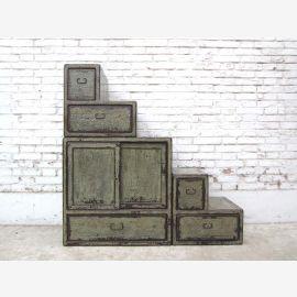 China Treppen Stufen Schubladen Kommode shabby chic grauweiß beidseitig verwendbar von Luxury-Park