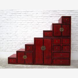 China Stufen Kommode Schrank rotbraun Antik Stil Pinie