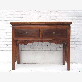 China 1920 filigrane Anrichte Garderobentisch Schreibtisch goldbraunes Ulmenholz von Luxury Park