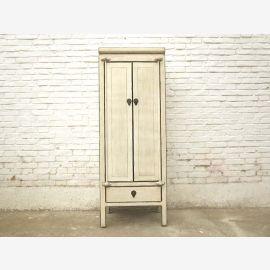 China hohe schlanke Kommode Doppeltür antikweiß Vollholz