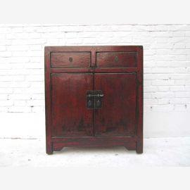 China kleine Kommode Anrichte Türen und Schubladen rotbraune Pinie Metallbeschlag von Luxury Park