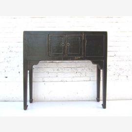 China 1930 schmaler Tisch Schreibtisch Anrichte Pinienholz schwarz lackiert shabby chic optic von Luxury-Park