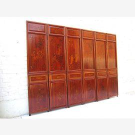 6 Panel Asia Raumteiler antik Geschenk 200x146x5