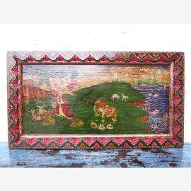 Asien Tibet breites Wandbild Landschaft buntbemalter Holzrahmen