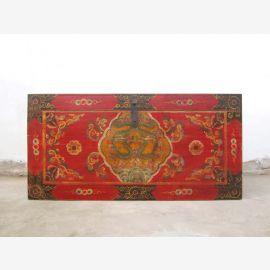 Tibet  große Hochzeitstruhe antik Rotbunt aufwändige Bemalung