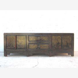 Asia TV Lowboard Kommode antikgrün vintage style Pinienholz