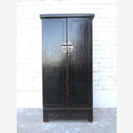China schlanker Schrank Anrichte schwarzes Antikfinish vintage Pinie