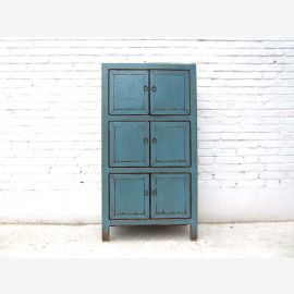 Asia Highboard Kommode Azurblau Vintage Style Vollholz by Luxury Park