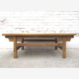 China 100 Jahre alter traditioneller Tisch rustikale Sockeloptik Landhaus-Stil helle Fichte von Luxury-Park