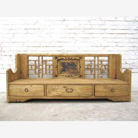 einmalige Rarität Shanxi 120 Jahre alte großartig verzierte Sitzbank Sockelschubladen Landhausstil Fichtenholz von Luxury-Park