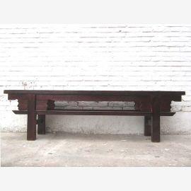 Asien Shanxi Antik um 1910 rustikale Sitzbank dunkelbraun